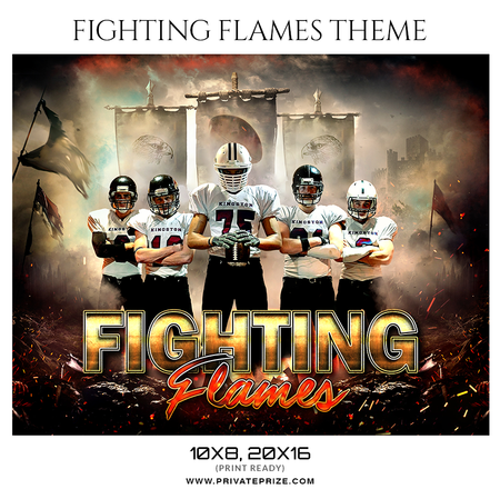 Fighting Flames - Football Themed Sports Photography Template - PrivatePrize - Photography Templates
