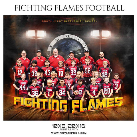 Fighting Flames - Football Themed Sports Photography Template