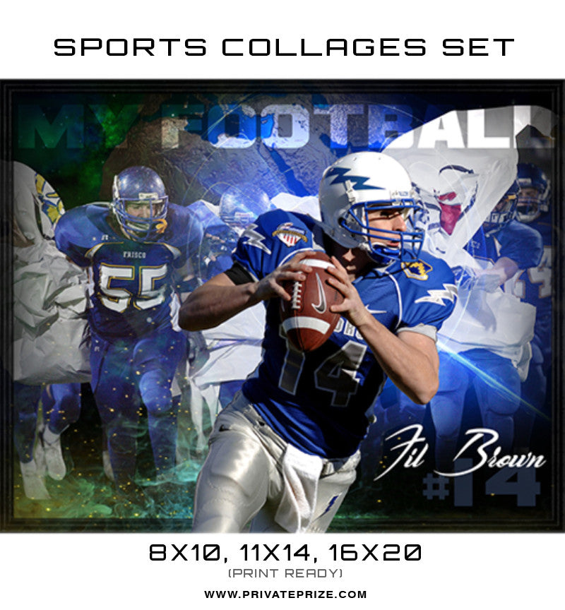 Fil Brown Football High School Sports Template -  Enliven Effects - Photography Photoshop Templates