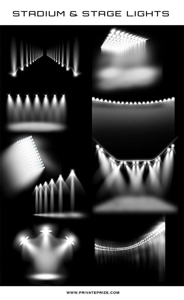 9 Designer Stadium & Stage Light Overlays - Photography Photoshop Templates