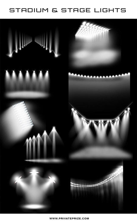 9 Designer Stadium & Stage Light Overlays - Photography Photoshop Template