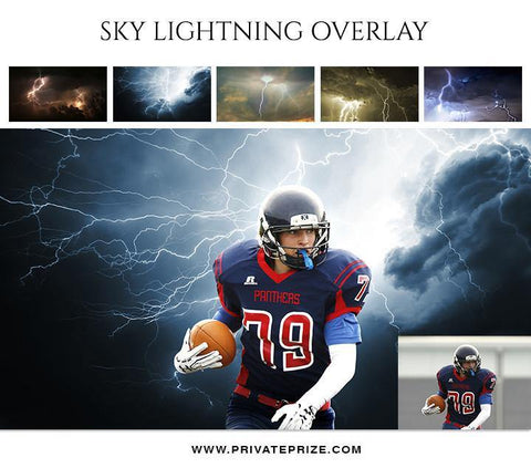 5 Sky Lightning Overlays - Designer Pearls - Photography Photoshop Template