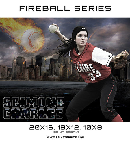 Seimone Baseball - Sports Fireball Series - Photography Photoshop Template