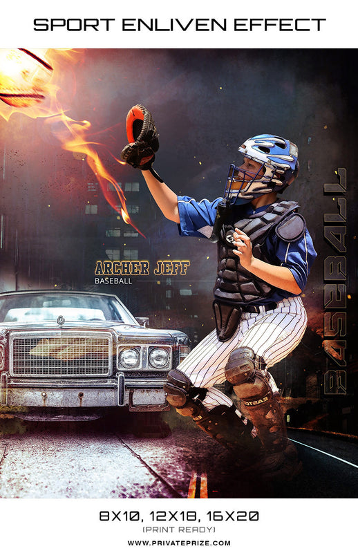 Firely Baseball High School Sports - Enliven Effects - Photography Photoshop Templates