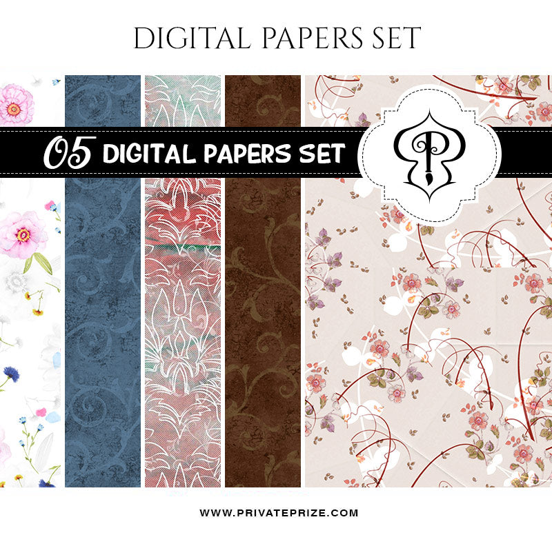 Floral Pattern Digital Paper Pack - Photography Photoshop Template