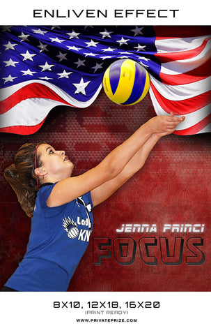 Focus - Jenna Volleyball Sports Template -  Enliven Effects - Photography Photoshop Templates