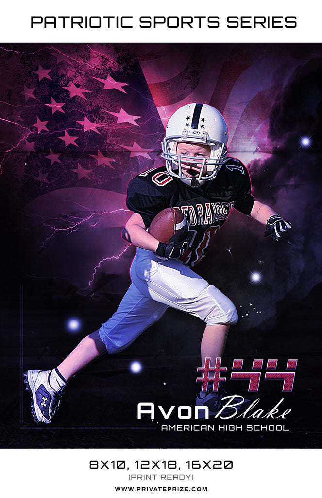 Avon Football - Sports Patriotic Series - Photography Photoshop Templates