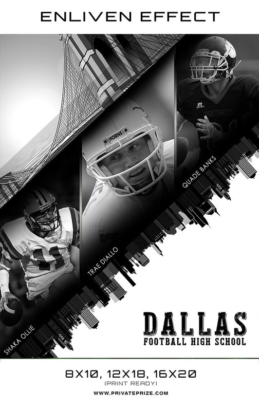 Football Team Dallas High School Sports Template -  Enliven Effects - Photography Photoshop Templates