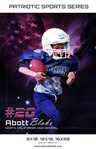 Abott Football - Sports Patriotic Series - Photography Photoshop Templates