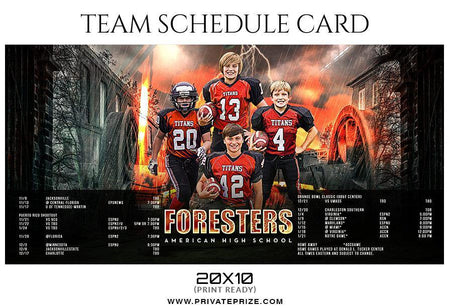 Foresters Football - Team Schedule Card