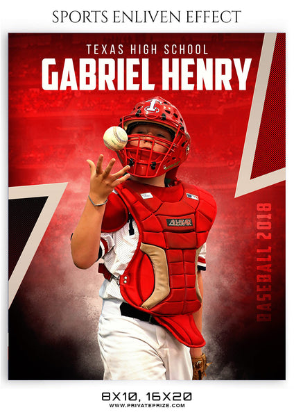 GABRIEL HENRY-BASEBALL - SPORTS ENLIVEN EFFECT - Photography Photoshop Template