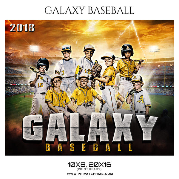 GALAXY BASEBALL Themed Photography Sports Template - Photography Photoshop Template