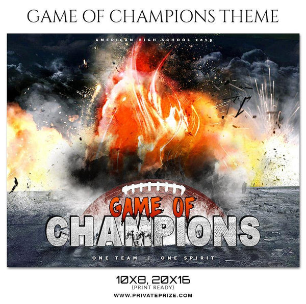 Game Of Champions - Football Themed Sports Photography Template