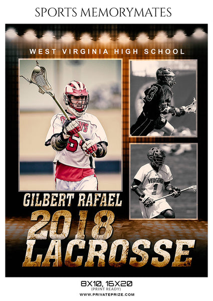 Gilbert Rafael Lacrosse Sports Memory Mates Photoshop Template - Photography Photoshop Template