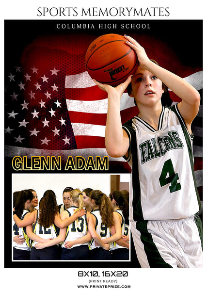 GLENN ADAM-BASKETBALL MEMORY MATE - Photography Photoshop Template