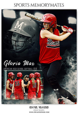 Gloria Max - Softball Sports Memory Mates Photography Template - Photography Photoshop Template