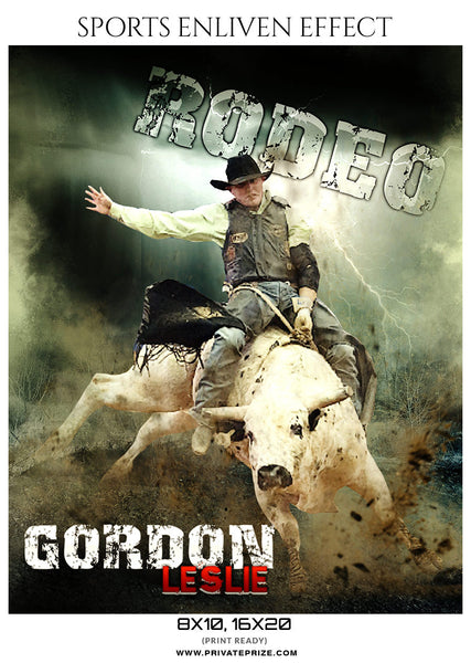 GORDON-LESLIE-RODEO- SPORTS ENLIVEN EFFECTS - Photography Photoshop Template