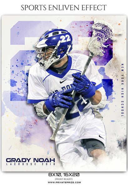 Grady Noah - Lacrosse Sports Enliven Effects Photography Template - Photography Photoshop Template