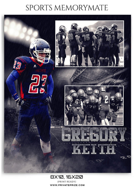 Gregory Keith Football- Sports Memory Mate Photoshop Template - Photography Photoshop Template