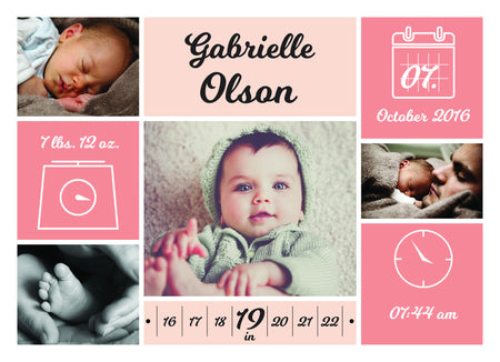 New Born Announcement - Photography Photoshop Template