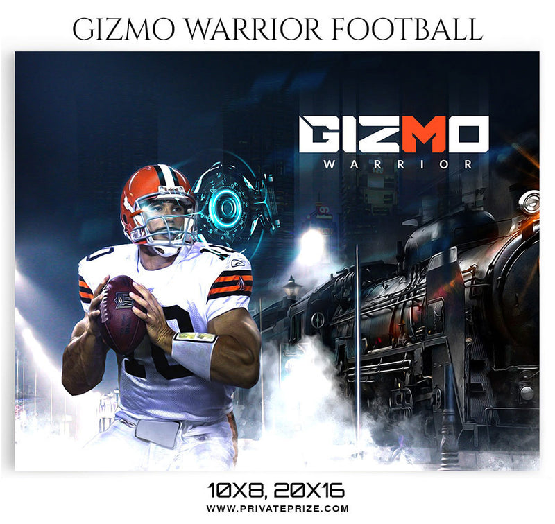 Gizmo-Warrior-Football Themed Sports Photography Template - Photography Photoshop Template