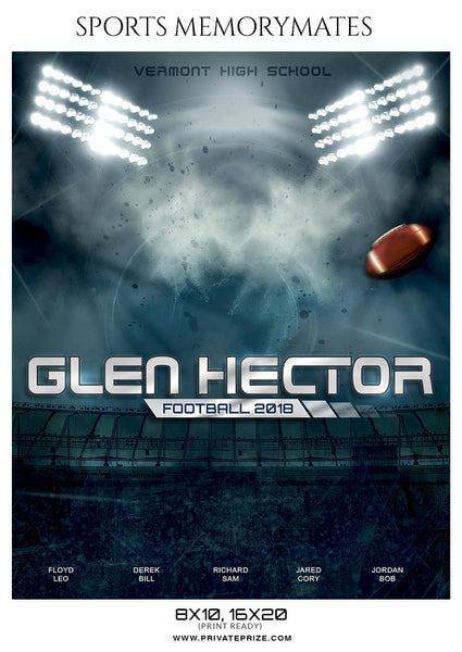 GLEN HECTOR FOOTBALL SPORTS MEMORY MATE - Photography Photoshop Template