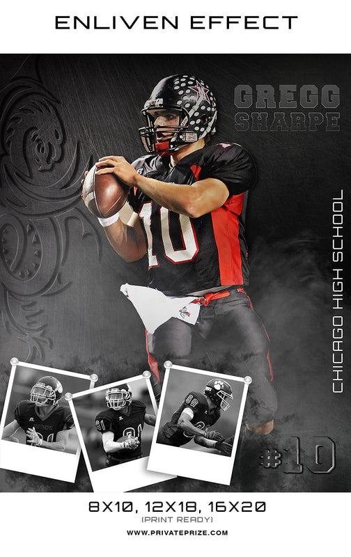 Gregg Chicago High School Sports Template -  Enliven Effects - Photography Photoshop Template