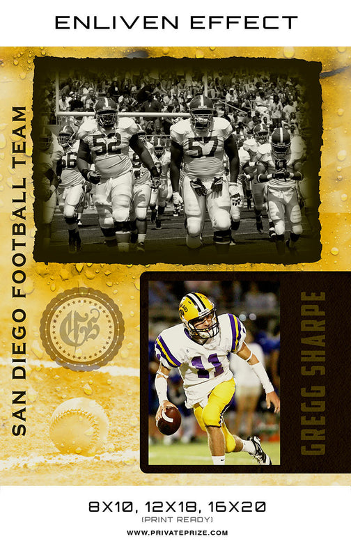 Gregg San Diego Football Team - Sports Collage Photoshop Template - Photography Photoshop Templates