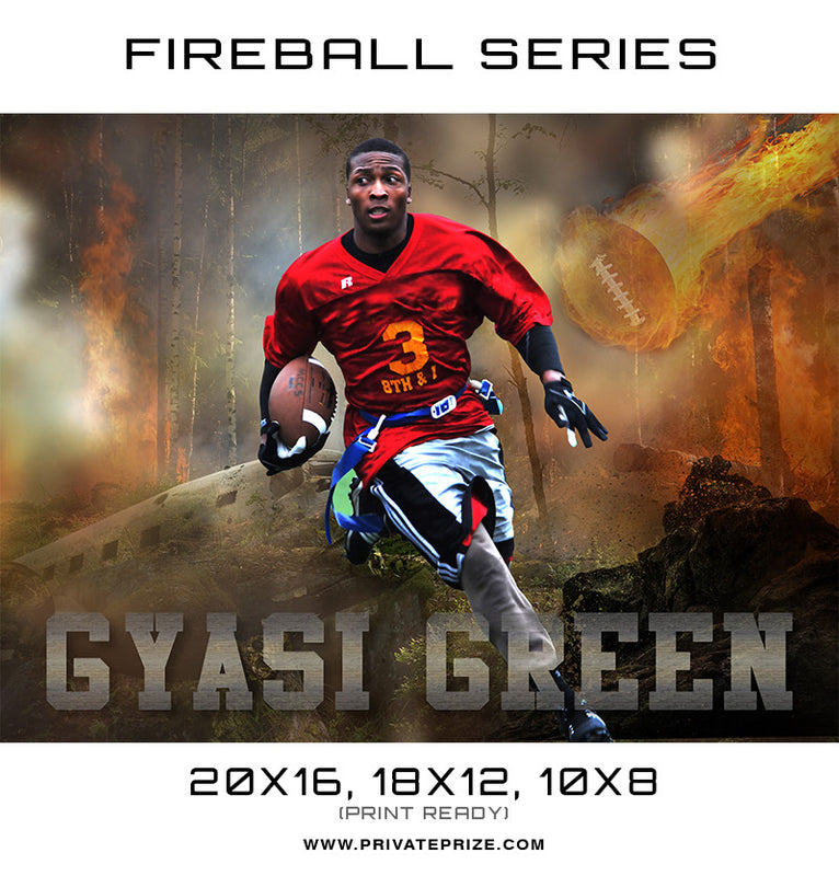 Gyasi Football - Sports Fireball Series - Photography Photoshop Templates