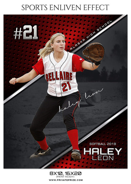 HALEY LEON SOFTBALL SPORTS ENLIVEN EFFECT - Photography Photoshop Template