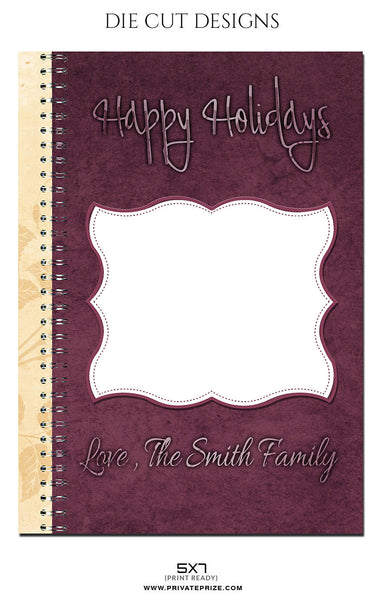 HAPPY HOLIDAYS-DIE CUT DESIGN - Photography Photoshop Template