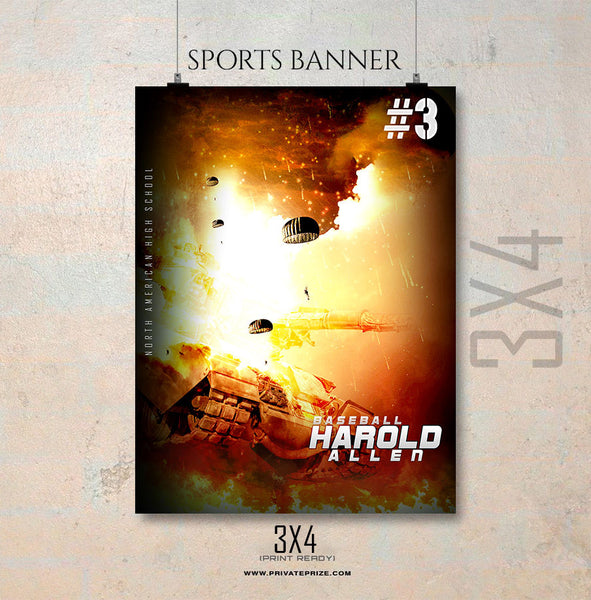 Harold Allen Baseball Enliven Effects Sports Banner Photoshop Template
