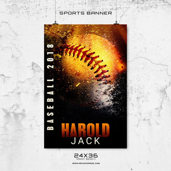 Harold Jack-Baseball-24X36-Enliven Effects Sports Banner Photoshop Template - Photography Photoshop Template