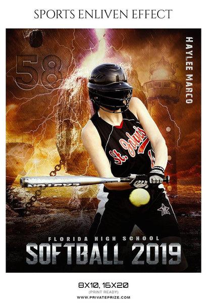 Haylee Marco - Softball Sports Enliven Effects Photography Template