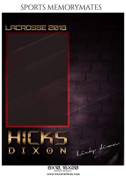 Hicks Dixson - Lacrosse Memory Mate Photography Template - Photography Photoshop Template