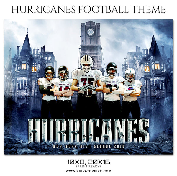 Hurricanes - Football Themed Sports Photography Template - Photography Photoshop Template