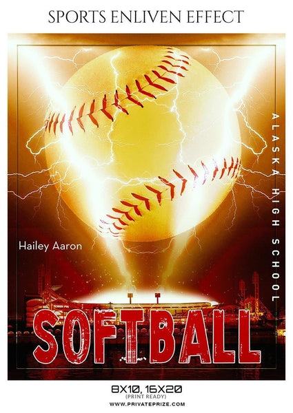 Hailey Aaron - Softball Sports Enliven Effect Photography template