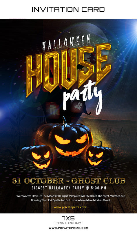 Halloween House Party Invitation Card - Photography Photoshop Template