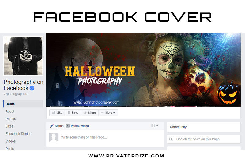 Halloween Photoshot Facebook Timeline Cover - 1 - Photography Photoshop Templates