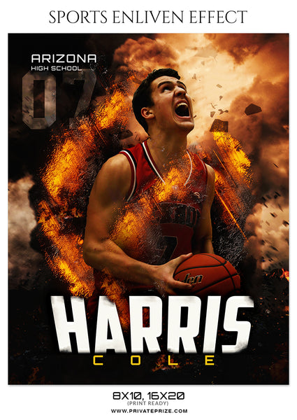 Harris Cole - Basketball Sports Enliven Effects Photography Template - Photography Photoshop Template