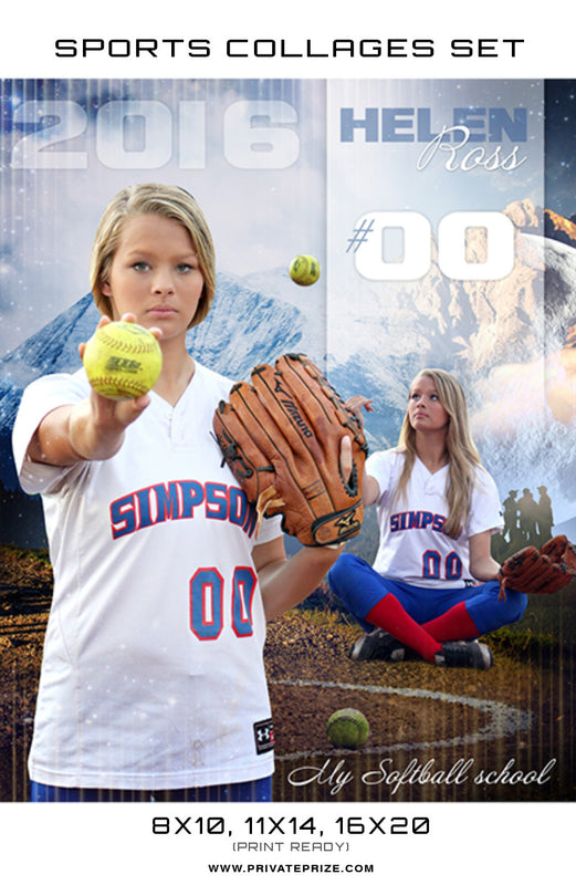 Helen Ross Softball High School Sports Template -  Enliven Effects - Photography Photoshop Templates