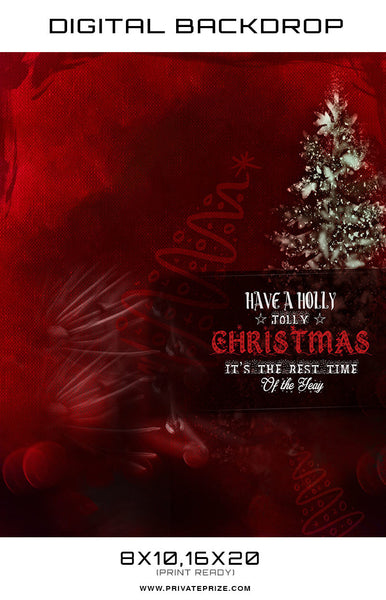 Holly Jolly Christmas Digital Backdrop - Photography Photoshop Templates