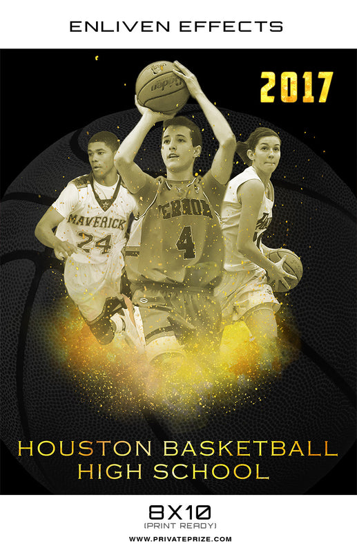 Houston High School Basketball - Enliven Effect - Photography Photoshop Templates