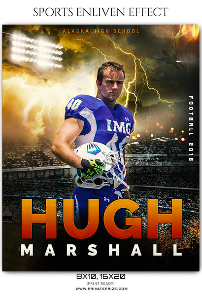 Hugh Marshall - Football Sports Enliven Effects Photoshop Template - Photography Photoshop Template