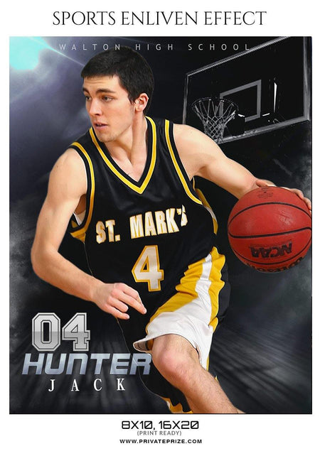 Hunter Jack - Basketball Sports Enliven Effect Photography Template - Photography Photoshop Template