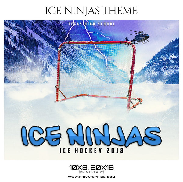 Ice Ninjas - Ice Hockey Theme Sports Photography Template - Photography Photoshop Template