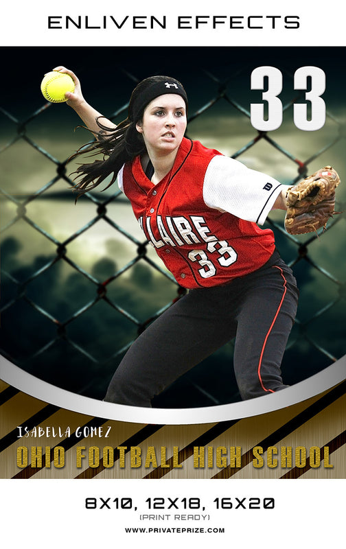 Isabella Ohio Softball High School - Enliven Effects - Photography Photoshop Template