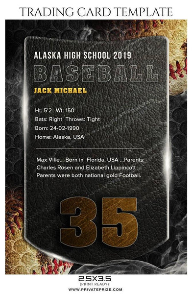 Jack Michael - Baseball Sports Trading Card Photoshop Template - Photography Photoshop Template