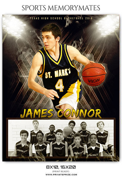James Connor - Basketball Sports Memory Mates Photography Template - Photography Photoshop Template