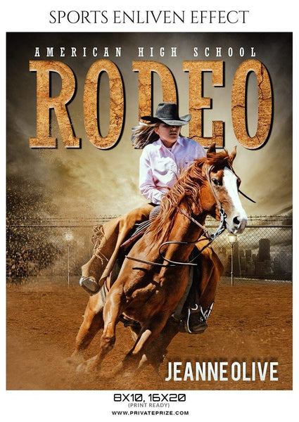 Jeanne Olive - Rodeo Sports Enliven Effects Photography Template - Photography Photoshop Template